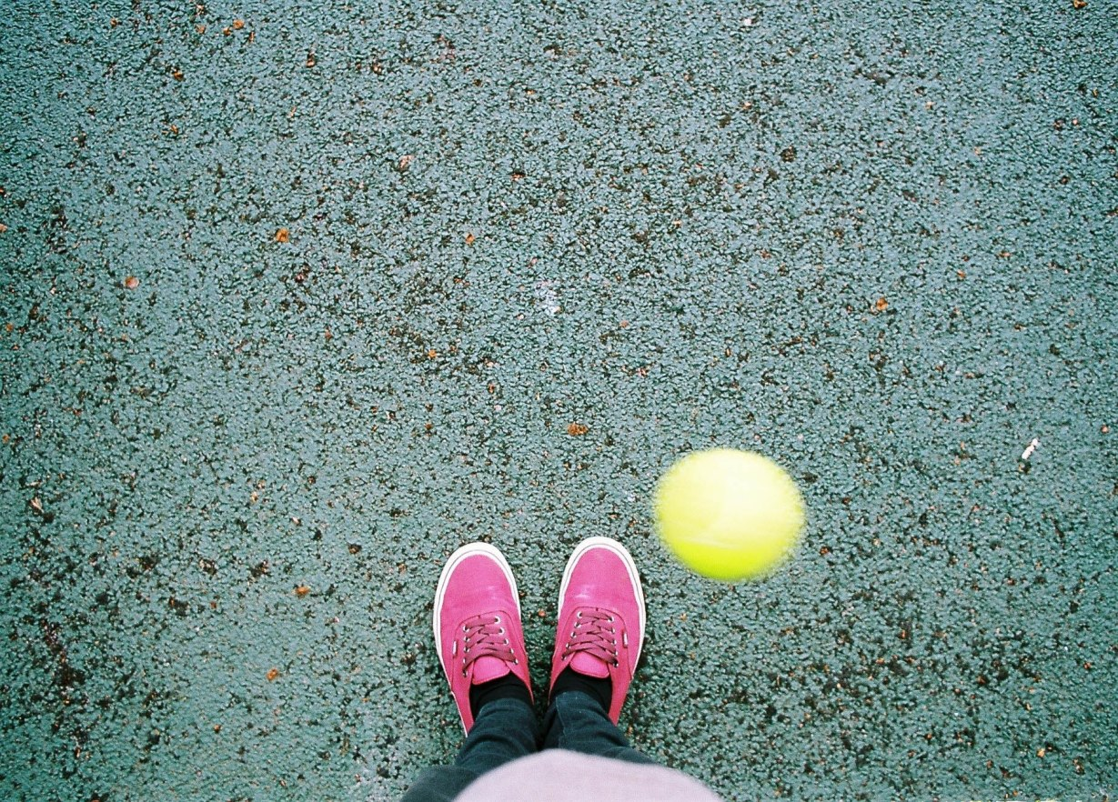 We walked to the tennis courts. Since I have been running and playing tennis of late, these Vans have not been cut out for the job.