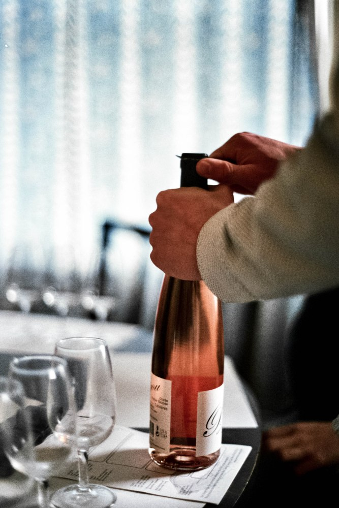 After explaining how to test a glass of wine, and how to discern its subtle nuances, we started by tasting a rosé.