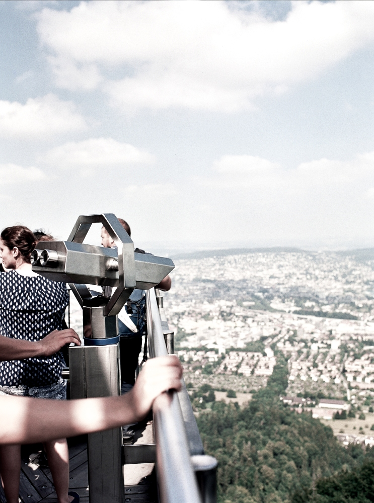 Its a very long way down from the Uetliberg observation tower. (F) Kodak Portra